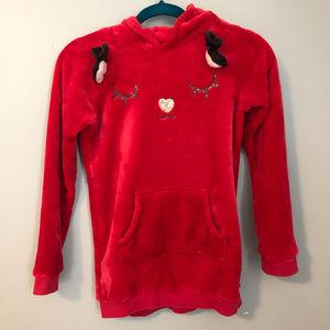H&M Red fleece reindeer sweatshirt - size 8-10